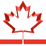Red ribbon in shape of maple leaf. Isolated on white background - symbol of Canada and National flag of Canada, 3D illustration Royalty Free Stock Image