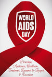 Red Ribbon and Shield Commemorating Prevention in World AIDS Day, Vector Illustration Stock Image