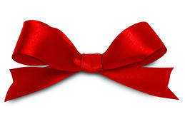 Red ribbon. Shiny red satin ribbon on white background Stock Photo