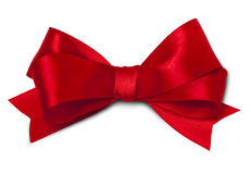 Red ribbon. Shiny red satin ribbon on white background Royalty Free Stock Photo