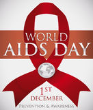 Red Ribbon with Silver Badge Commemorating World AIDS Day, Vector Illustration. Commemorative poster for World AIDS Day with a red ribbon, silver badge with Royalty Free Stock Photo