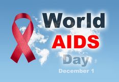 Red ribbon with sky world clouds map world aids day 1 december t. Ext royalty free stock image