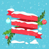 Red ribbon with snow, baubles and fir branches. Vector illustration Royalty Free Stock Photography
