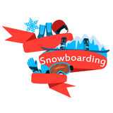 Red Ribbon Snowboarding Stock Images