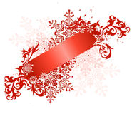 Red ribbon & snowflakes Stock Photography