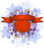 Red ribbon & snowflakes Stock Photo