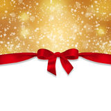 Red ribbon and snowflakes Stock Photography