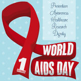 Red Ribbon with Some Precepts for World AIDS Day, Vector Illustration. Poster with giant red ribbon and some precepts with reminder date of World AIDS Day over Royalty Free Stock Image