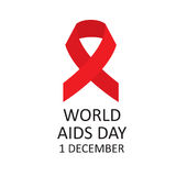Red ribbon symbol of World AIDS Day. Vector illustration Royalty Free Stock Images