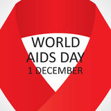 Red ribbon symbol of World AIDS Day. Vector illustration Royalty Free Stock Image