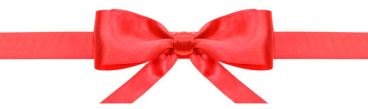 Red ribbon and symmetric bow with horizontal ends Stock Image