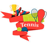 Red Ribbon tennis Royalty Free Stock Images