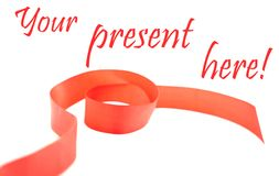 Red ribbon with text Stock Photography