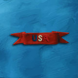 Red Ribbon with text USA. Red plasticine ribbon on light blue background with text USA for 4 July American Independence Day and other events. Vector illustration Stock Photos