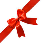 Red ribbon tied in bow Stock Photo