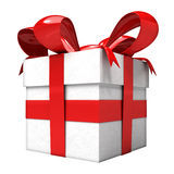 Red ribbon tied gift box angle view Royalty Free Stock Photos