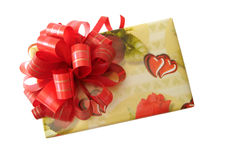 Red Ribbon Tied Yellow Box Royalty Free Stock Photos