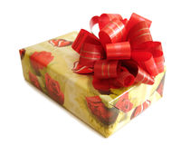 Red Ribbon Tied Yellow Box Stock Photo