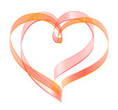 Red ribbon two heart shape symbol of love Stock Photo