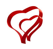 Red ribbon two hearts valentines love sign Royalty Free Stock Image
