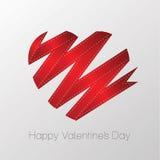 Red ribbon Valentin's heart. Vector illustration Stock Photos