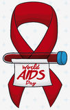 Red Ribbon and Vial with Reminder of World AIDS Day, Vector Illustration. Poster with blood sample ready to be analyzed in commemoration of World AIDS Day Stock Image