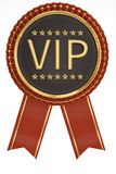 Red ribbon VIP labeled isolated on white background. 3D illustration. stock images