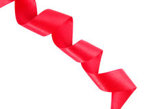 Red ribbon wavy isolated Stock Images