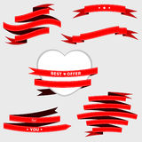 Red ribbon for web design, cards, banner. Royalty Free Stock Images
