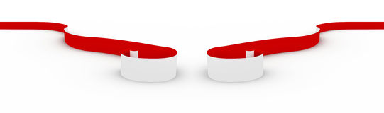 Red ribbon on white. Royalty Free Stock Images