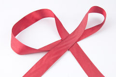 Red Ribbon on the white background Stock Photos