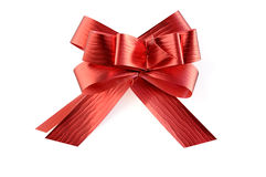 Red ribbon on white with clipping path. stock images