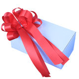 Red ribbon and white present box isolated Royalty Free Stock Photo
