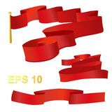 Red ribbon wind wave. Red ribbon in the wind set vector illustration