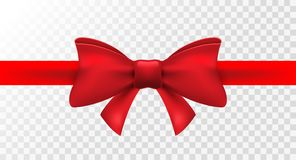 Free Red Ribbon With Red Bow. Vector Isolated Bow Decoration For Holiday Present. Gift Element For Card Design Stock Photography - 117297562