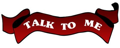 Red ribbon withTALK TO ME . Stock Photo