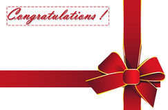 Red ribbon with the words Congratulations! Royalty Free Stock Image