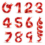 Red ribbon words number vector design. New year ribbon number design character words celebration Stock Images