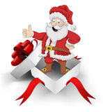 Red ribbon wrapped box with happy santa claus inside vector Stock Photography