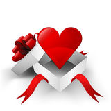 Red ribbon wrapped box with red heart inside vector Royalty Free Stock Images