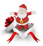 Red ribbon wrapped box with santa claus greeting vector Royalty Free Stock Photo