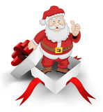 Red ribbon wrapped box with santa claus inside vector Stock Image