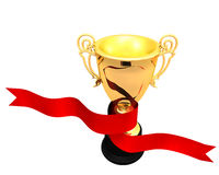 Red ribbon wrapping around a trophy cup. 3d Illustration of a red ribbon wrapping around a golden trophy cup stock illustration