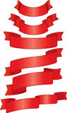 Red ribbons. Set of red ribbons. CMYK Royalty Free Stock Photography