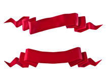 Red ribbons. Illustration of two red ribbons or banners isolated on white background Stock Image