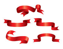 Red Ribbons. Decorative elements - red twisted ribbon royalty free illustration