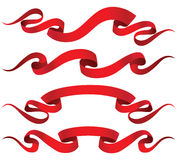 Red ribbons. 4 red ribbons with place for text Royalty Free Stock Image