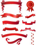 Red Ribbons. This image is a vector illustration and can be scaled to any size without loss of resolution. This image will download as a .eps file and can be Royalty Free Stock Photo