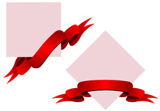 Red ribbons with banners Royalty Free Stock Image