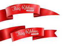 Red Ribbons Banners Set Royalty Free Stock Images
